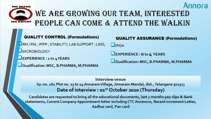 Annora Pharma Walk In 1st Oct 2020 for QC/QA @ Freshers & Experienced