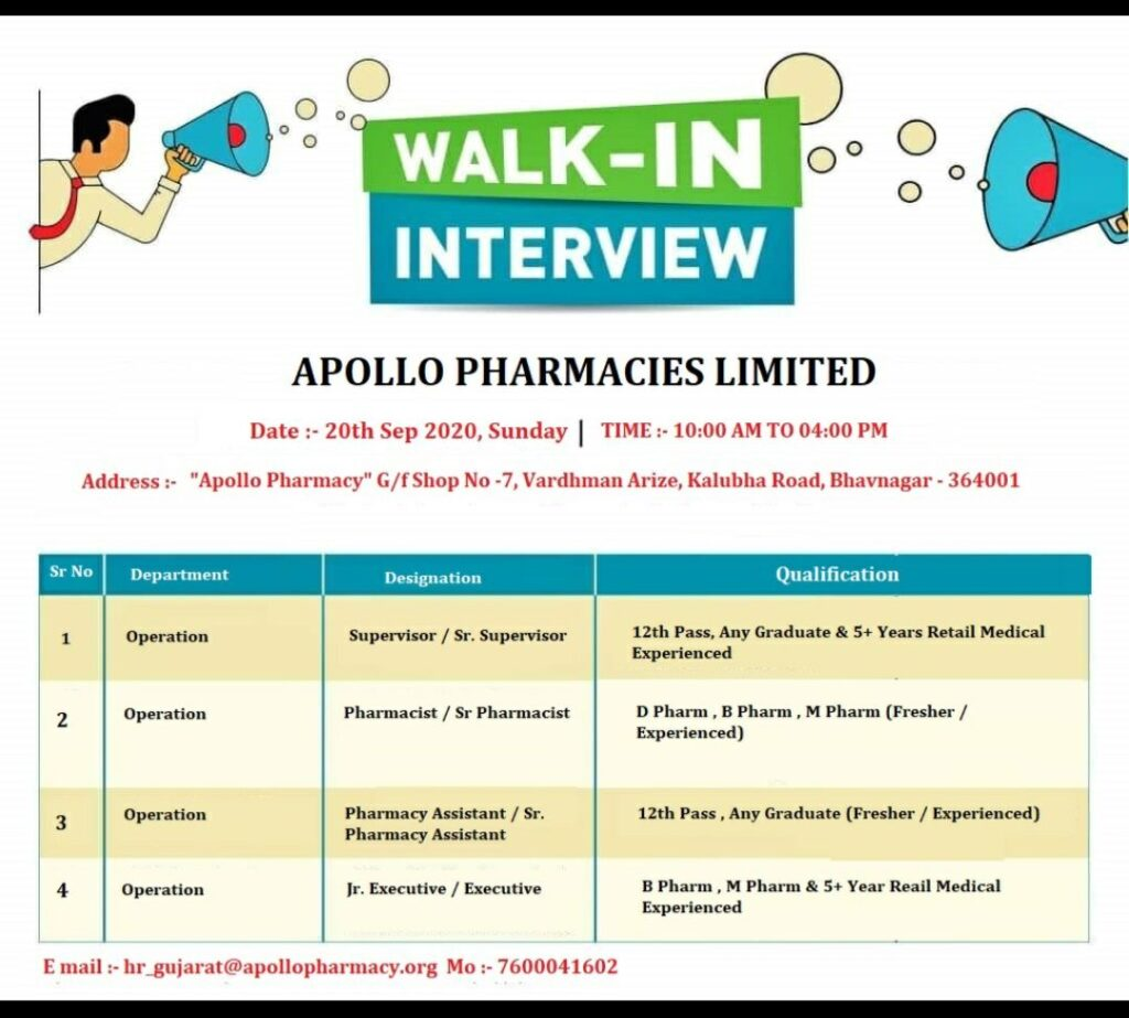 Apollo Pharmacy Ltd – Walk-In Interviews for Fresher & Experienced on 20th Sept. 2020
