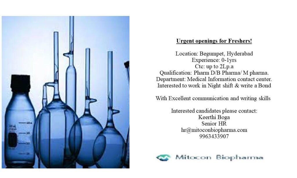 Urgently Opening for Fresher @ Mitocon Biopharma