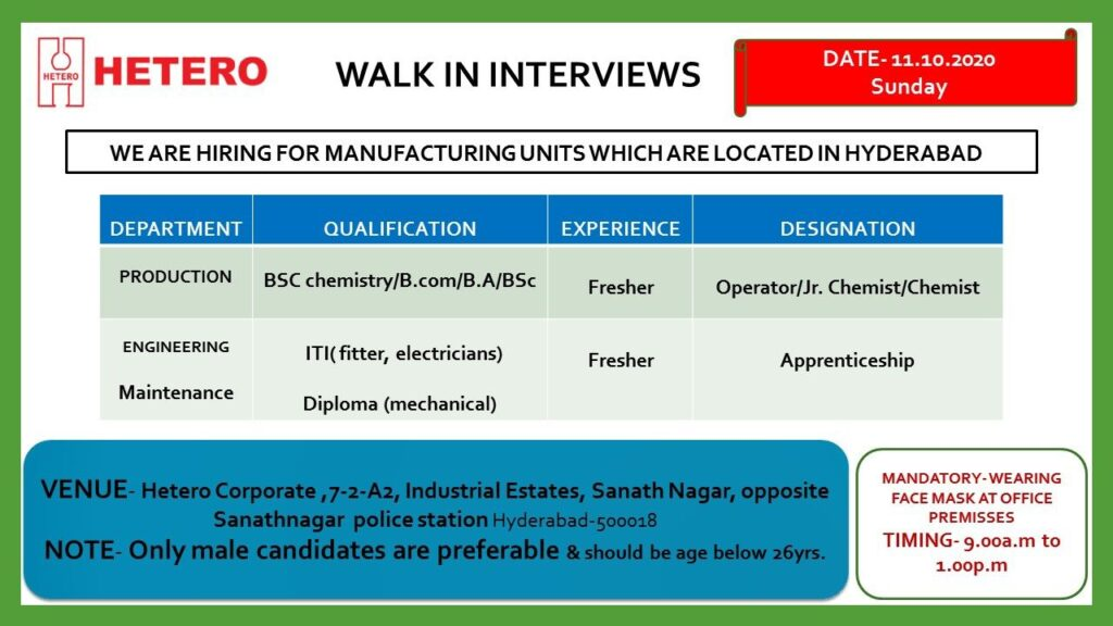 Hetero Limited – Walk-In Interviews for Fresher – B.SC, B.COM, B.A, ITI, DIPLOMA on 11th Oct. 2020