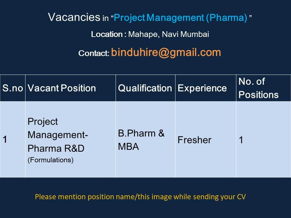 Vacancy for Freshers in Project Management (Pharma)
