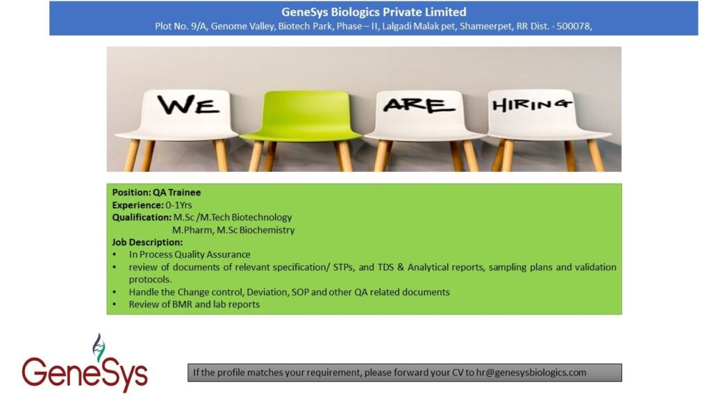 GenSys Biologics Private Limited – Urgently Opening for Fresher || Apply Now