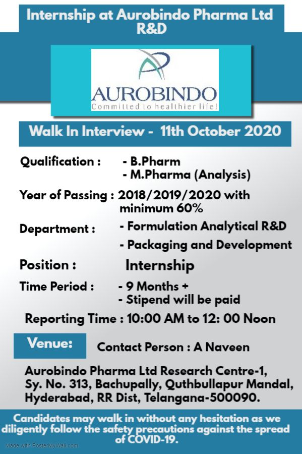 Internship at Aurobindo Pharma Limited