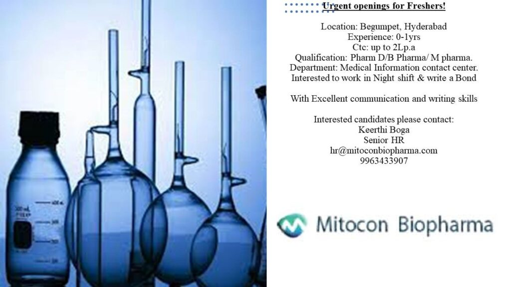 Mitocon Biopharma – Urgently Opening For Fresher