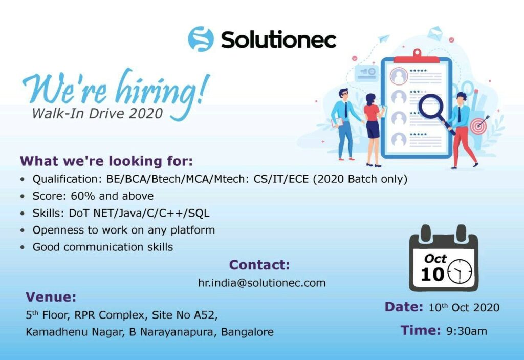 Walk-In Drive for BE / BCA / B.Tech / MCA / M.Tech Freshers on 10th Oct' 2020 @ SolutionEC