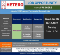Hetero Labs Limited – Walk-In Interviews for FRESHERS on 18th Oct' 2020