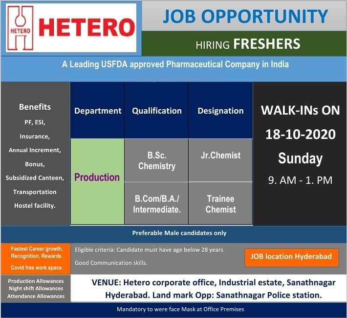 Hetero Labs Limited - Walk-In Interviews for FRESHERS on 18th Oct' 2020