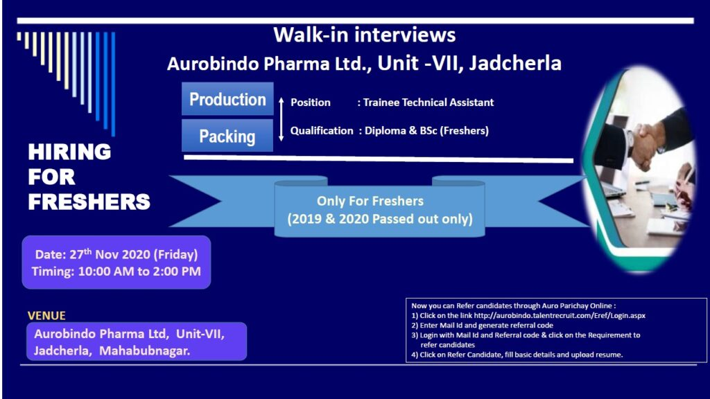 AUROBINDO PHARMA LTD – Walk-In Interviews for FRESHER on 27th Nov' 2020