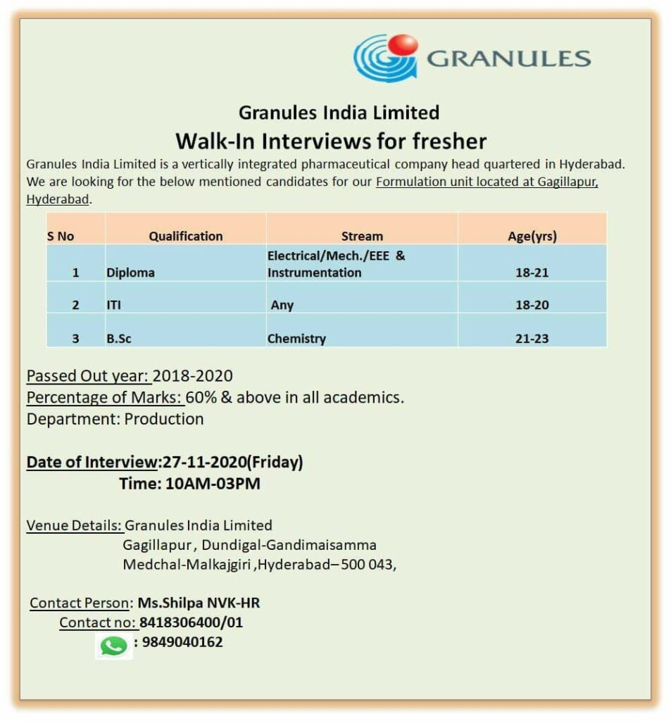 Granules India Limited – Walk-In Interviews for FRESHERS on 27th Nov' 2020