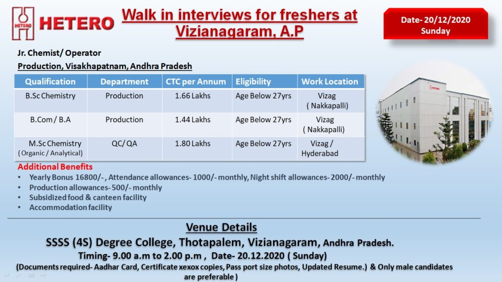 Hetero Labs Limited – Walk-In Interviews for FRESHERS – Production, QC, QA on 20th Dec' 2020