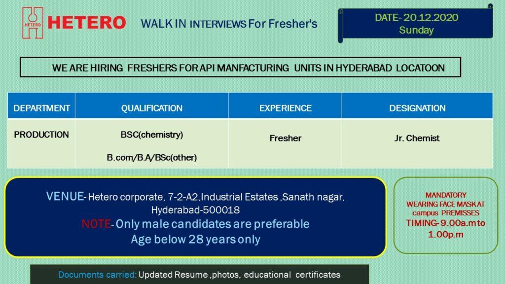 HETERO – Walk-In Interviews for FRESHERS on 20th Dec' 2020 @ Hyderabad