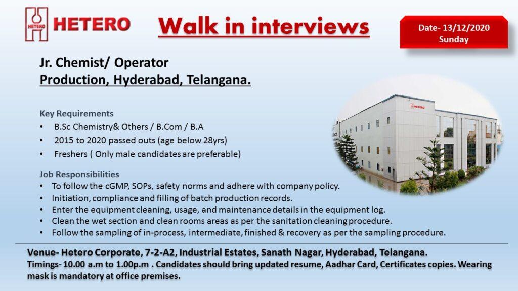 Hetero Labs Ltd – Walk-In Interview for FRESHERS (30 Openings) on 13th Dec' 2020