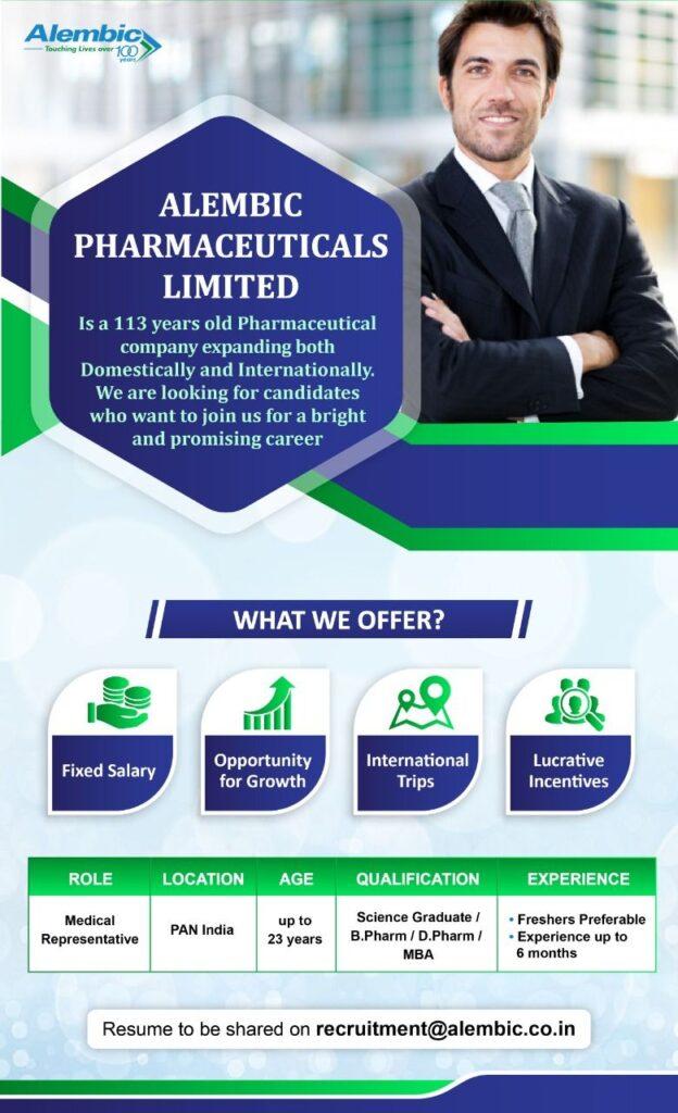 Alembic Pharma Hiring for FRESHERS    Science Graduate / B.Pharma / D.Pharma / MBA   Pan India    Apply Now
