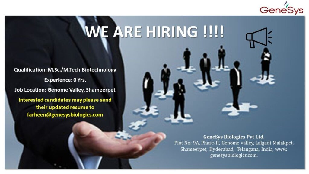 GeneSys Biologics Pvt. Limited – Urgent Hiring for Fresher – M.Sc, M.Tech Candidates || Apply Now